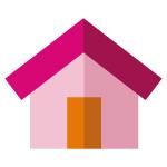 Icono de una casa para el servicio de asistencia a domicilio en la home de grup ms