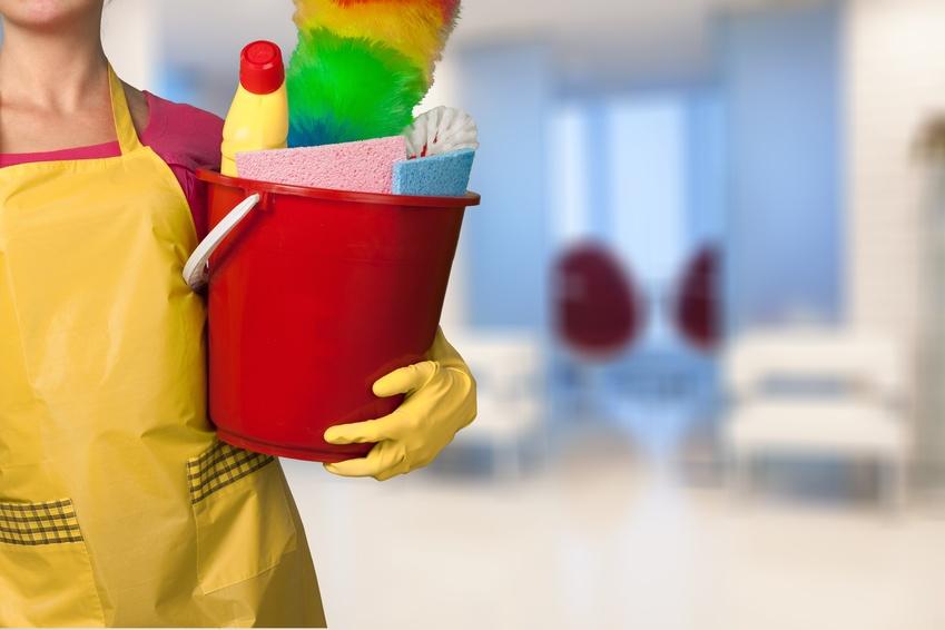 empleada del hogar con utensilios para el servicio doméstico